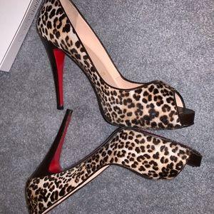 Cheetah Leopard-print Calf Hair Peep-toe heels